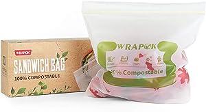 WRAPOK 100% Compostable Small Sandwich Bags 50 Count Reusable Biodegradable Storage Freezer Bag for Kitchen
