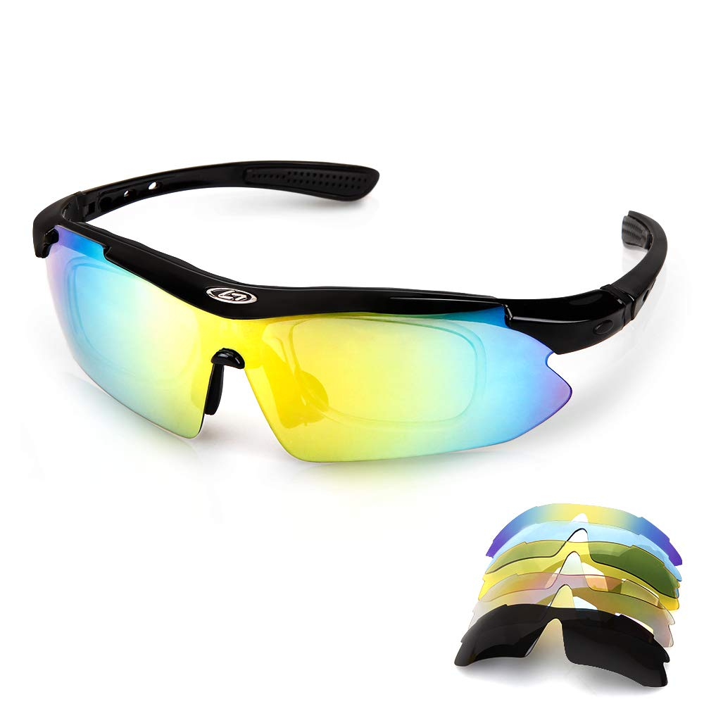 Motorrad Polarisierte Aolead Fahrradbrille Sportbrille Brille Sonnenbrille mit UV400 Gesch/ützter 5 Wechselgl/äser Extremes Leichtgewicht f/ür Klettern Fahren Sports