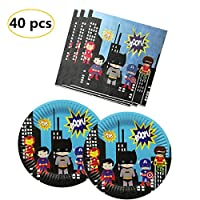 Party Nice Super hero Party Supply Pack - Super hero Party Plates, Super hero Luncheon Napkins