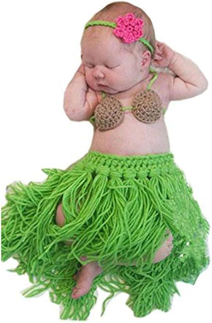 Baby Crochet Knit Hula Skirt Bra Headband Gift Set Photo Prop Outfit Costume
