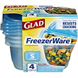 Glad 78414 Food Storage Containers, FreezerWare, Small, 24-Ounce, 4-Count, Clear