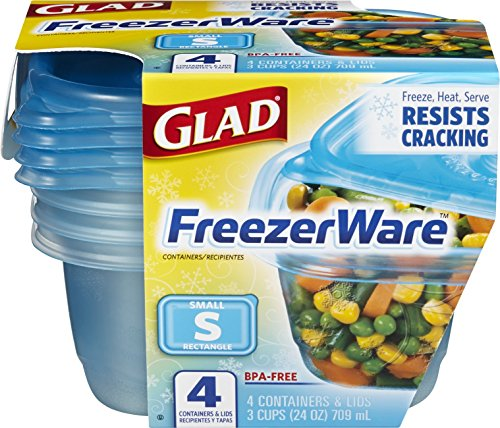 Store my version of Alton Brown's Tomato Sauce Recipe in Glad Food Storage Containers, FreezeWare, Small, 24 Ounce, 4 Count