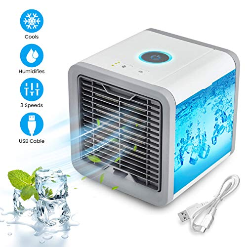 OUTERDO Personal Space Cooler, 4 in 1 Portable Air Conditioner Fan with Waterbox, Purifier Humidifier USB Fan with 7 Color LED 3 Fan Speed, Ultra-Quiet Mini Evaporative Cooler for Home Office Outdoor