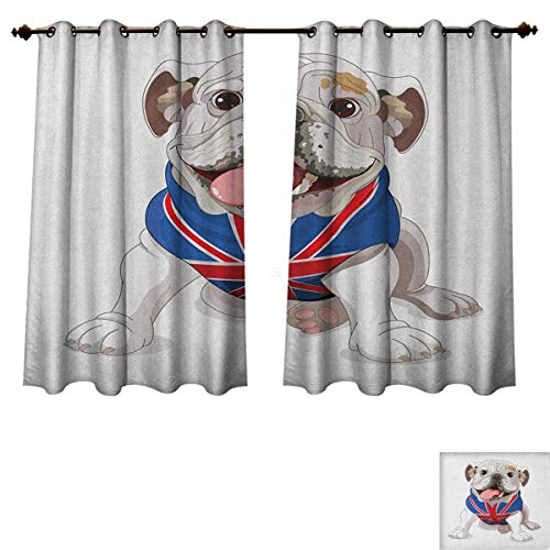 PriceTextile English Bulldog Blackout Thermal Backed Curtains for Living Room Happy Dog Wearing a Union Jack Vest Cartoon Style Animal Design Customized Curtains Cream Navy Blue Red Size W72 xL72