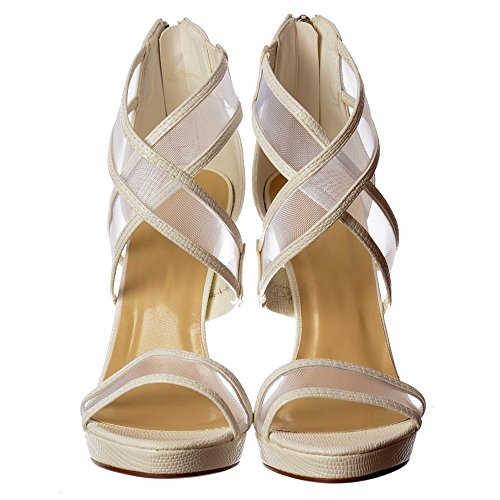 Party Over Onlineshoe Lizard Cross Strappy Heels Bridal High Heel White Women's qYga4TH