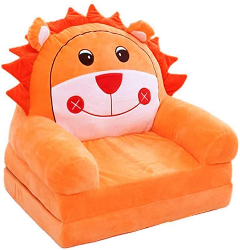 Fivtyily Cute Cartoon Shape Kids Sofa Chair Soft Plush Toddler Armchair Toddler Furniture for Living Room Bedroom (Orange)