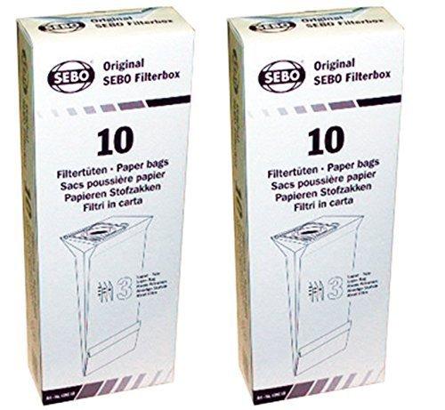 SEBO 5093AM Vacuum Filter Bag Box for X Series, (20 Bags)
