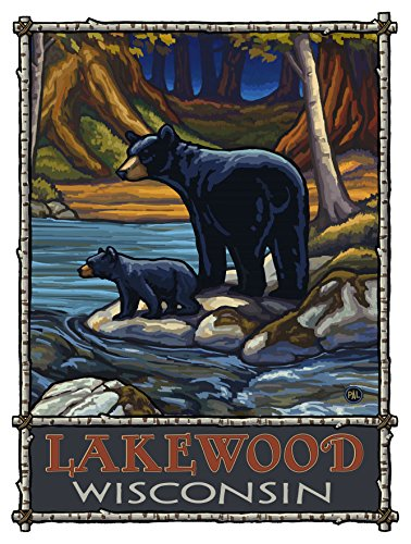 Lakewood Wisconsin Bears In Stream Travel Art Print Poster by Paul A. Lanquist (9