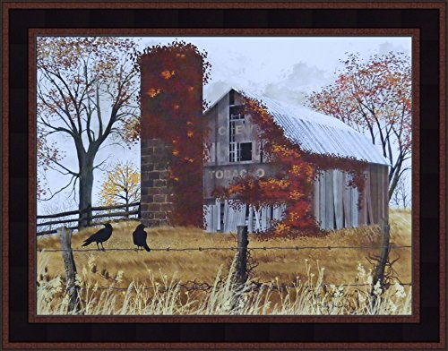 The Old Barn by Billy Jacobs 15x19 Weathered Barn Silo Country Landscape Primitive Folk Art Print Wall Décor Framed Picture