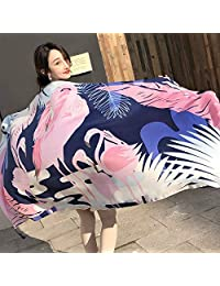 THSTVweijin Ms. Scarf Cotton Travel Scarf Vacation Sunscreen Scarf Air Conditioning Large Shawl Beach Towel THSTVweijin (Color : Pink flamingo)
