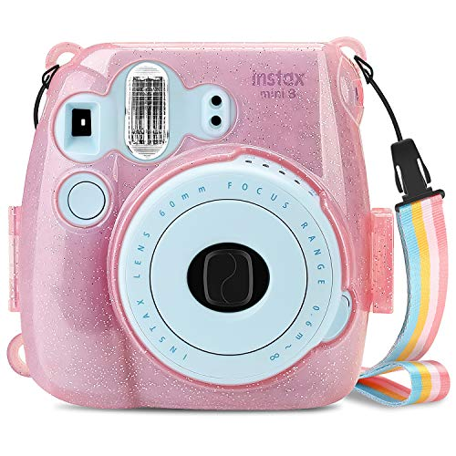 Fintie Protective Clear Case for Fujifilm Instax Mini 8 Mini 8+ Mini 9 Instant Camera - Crystal Hard PVC Cover with Removable Rainbow Shoulder Strap, Shining Pink