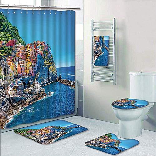 Bathroom Fashion 5 Piece Set shower curtain 3d print,Wanderlust Decor,Mediterranean Sea European Style Traditional Italian Design Cliff Coastline View Mountains,,Bath Mat,Bathroom Carpet Rug,Non-Slip,