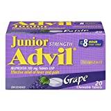 Junior Strength Advil (40 Count, Grape Flavour) Ibuprofen Chewable Tablets for Relief of Pain Fever
