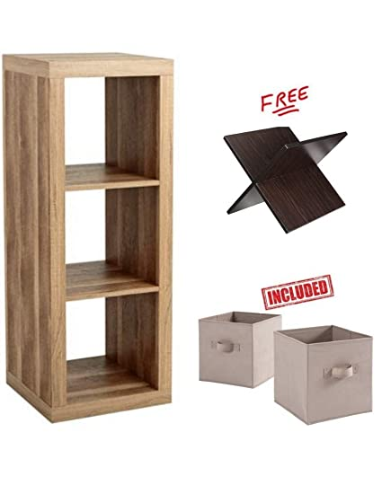 Bookshelf Square Storage Cabinet 3 Cube Organizer In Weathered