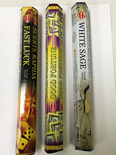 Fast Luck Good Fortune White Sage 60 HEM Incense Sticks 3 Scent Sampler Gift Set
