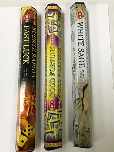 Good Luck Sampler - Fast Luck Good Fortune White Sage 60 HEM Incense Sticks 3 Scent Sampler Gift Set