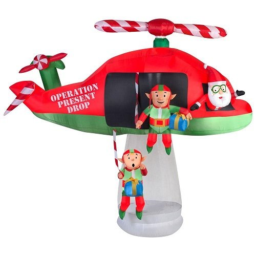 Gemmy 114.17 in. D x 57.09 in. W x 96.85 in. H Animated Inflatable Santa and Elves in Helicopter Scene by Gemmy (Image #2)