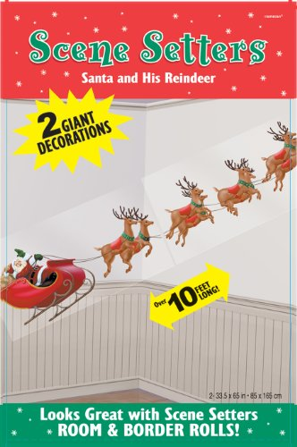 Santa and His Reindeer 65in Scene Setters 2ct