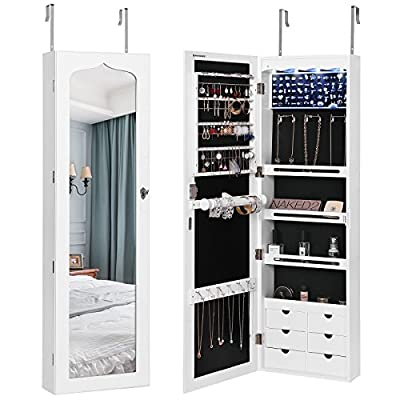 SONGMICS LED Jewelry Cabinet Armoire with 6 Drawers Lockable Door Mounted Jewelry Organizer White UJJC88W