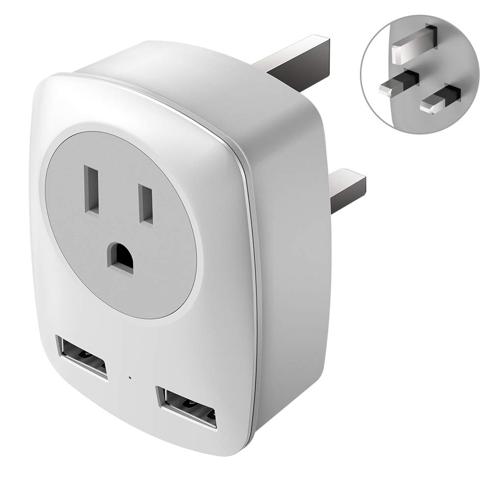 UK Power Adapter for USA to UK Type G UK Adapters for Travel,US to UK Adapter with 2 USB,3 in 1 UK Travel Adapter England,Scotland ,Ireland,Hong Kong,etc.Ultra Compact
