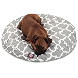 1 Piece Grey Trellis Pattern Dog Bed (Large), Elegant Geometric Print Pet Bedding For Puppies, Features Removable Cover, Water & Stain Resistant, Round Shape, Polyester