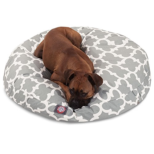 1 Piece Grey Trellis Pattern Dog Bed (Medium), Elegant Geometric Print Pet Bedding For Puppies, Features Removable Cover, Water & Stain Resistant, Round Shape, Polyester by Unknown