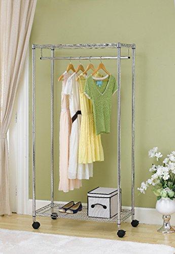 - Generic QYUS416021512381478 Clothing Garment rome 2- 2-Tier Rolling New Chr New Chrome lling C Shelf Dress f Dress Rack Shelving Wire Wire Shelf Dress