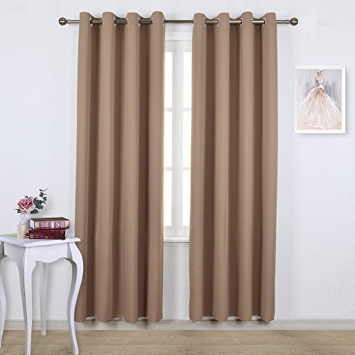 Window Treatments Panel (NICETOWN Blackout Draperies Curtains Panels - Window Treatment Thermal Insulated Solid Grommet Blackout Curtains/Panels/Drapes for Bedroom (Set of 2 Panels, 52 by 84 Inch, Cappuccino))