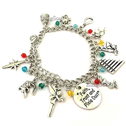 Tinkerbell Charm Bracelet - Pan Peter Charm Bracelet - Faith Trust and Pixie Dust Charms Bracelets Jewelry Merchandise Gift Women (Silver)