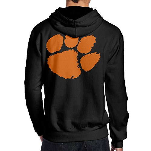 Clemson Mascot Costume (JKUI9 Men's Clemson University Tiger Paw Logo Hoodies On The Back Size XXL Black)
