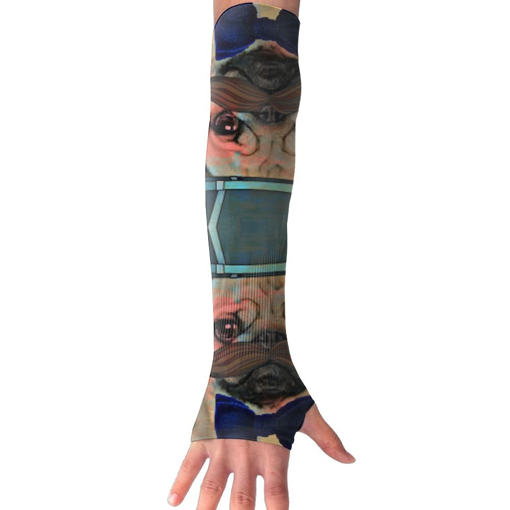Pug With Top Hat And Bowtie Womens Super Long Fingerless Anti-uv Sun Protection Golf Driving Sports Arm Sun Sleeves Gloves