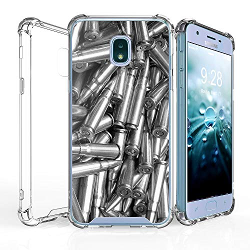 Samsung Galaxy J7 2018 DuroCase 4 Corner Shockproof TPU Bumper & Hard Plastic Back Case (Clear Transparent) Bullets