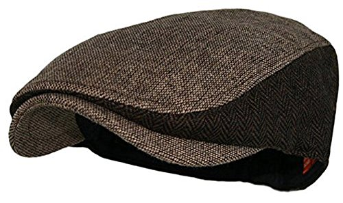 Wonderful Fashion Men's Classic Herringbone Tweed Wool Blend Newsboy Ivy Hat (Large/X-Large, Twotone Lt.Brown) (Gold Wool Classic Hat)