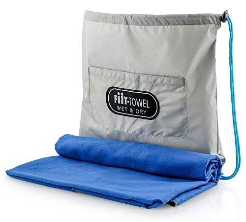 TiiL Microfiber Workout Full Size Gym Towel (51 x 24) Quick-Dry, Store Sweat + Wet Gear in Detachable Bag + Key Pocket | Fitness, Hiking, Camping, Swimming, Yoga, Exercise Sports Towel (SilverBlue) by TiiL (Image #2)