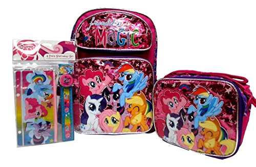 My Little Pony Large 16 Backpack Book Bag & Lunch Box