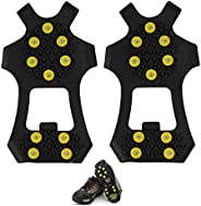 Anti Slip Ice & Snow Grips Traction Cleats Rubber Spikes10-Studs Crampons Slip-on Stretch Footwear Men Wom