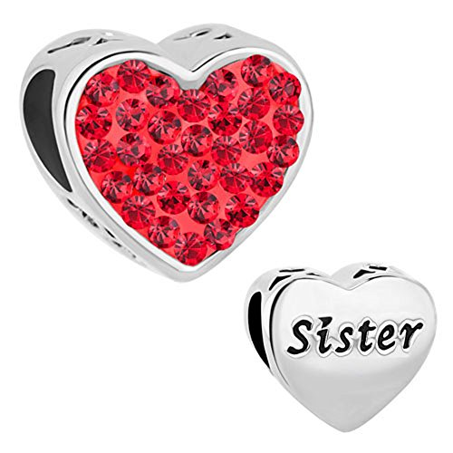 CharmSStory Sister Charms Heart Love Simulated Birthstone Beads For Charms Bracelet (Sister Charm)