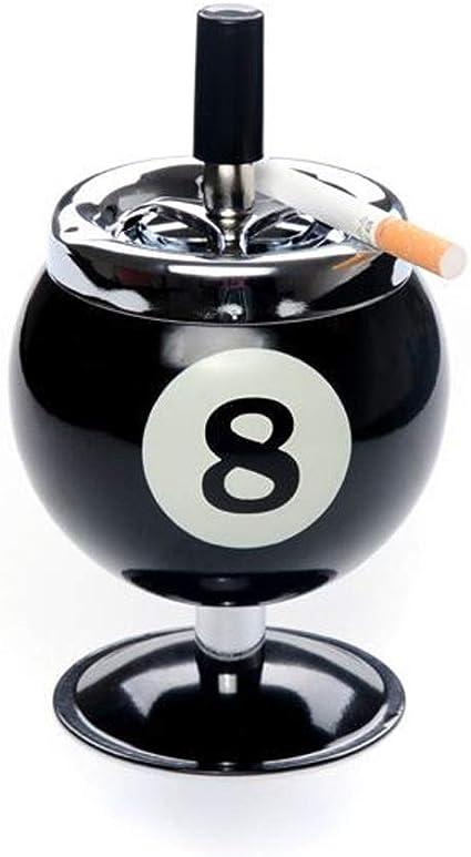 TPLYHG Creativa empuje hacia abajo del cigarrillo Cenicero Cenicero No.8 Bola de billar sin la base de metal fumadores Cenicero for uso en interiores o al aire libre ...