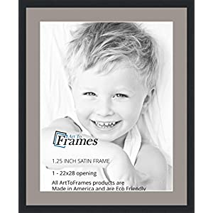ArtToFrames 22 x 28 Inch Opening Single Mat with a Satin Black 1.25'' wide Picture Frame, 2'' TV Grey Mat