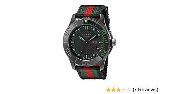 bc65e30b9ea Amazon.com  G-Timeless Black Stainless Steel Watch with Striped Nylon Men s  Band(Model YA126229)  Watches