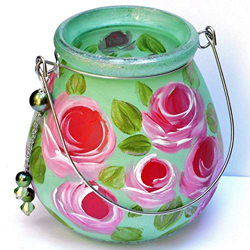 Emerald Green Glass Hanging Tea Light Lamp Flower Candle Lantern with Painted Roses and Dangling Tassel