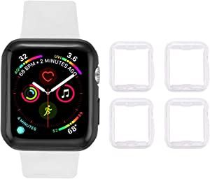 Tranesca 4 Pack Apple Watch Series 3 38mm TPU Protective Case with Built-in HD Clear Ultra-Thin Screen Protector Compatible with Apple Watch Series 2 and Series 3 ( Clear)