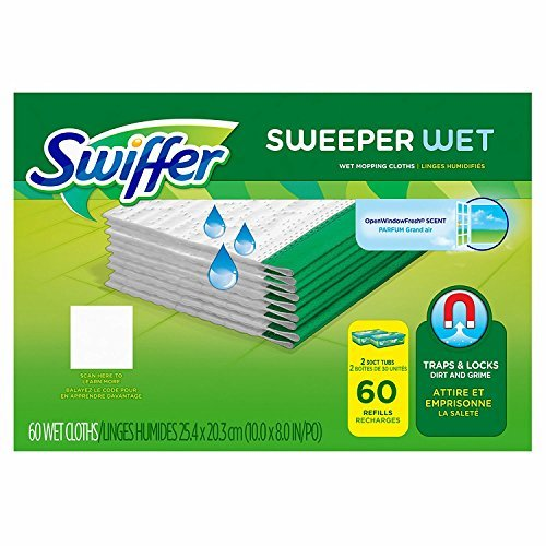Swiffer Sweeper Wet Mopping Cloth Refill, Mega Value Case (60 count) (Swiffer Wet Refills 60 Count)