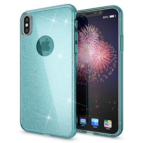 - NALIA Glitter Case Compatible with iPhone Xs Max, Ultra-Thin Mobile Sparkle Silicone Back-Cover, Protective Slim-Fit Shiny Protector Skin Shockproof Crystal Gel Bling Smart-Phone Bumper, Color:Cyan