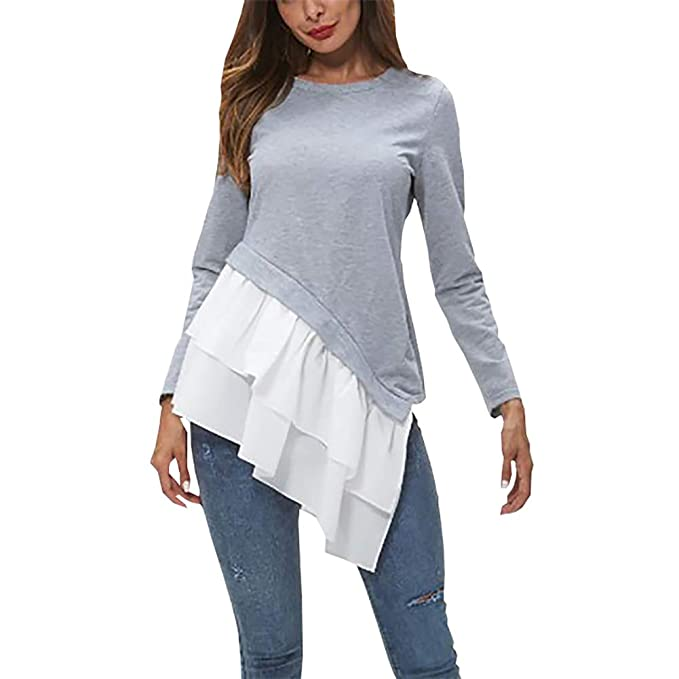 28a8daf882bbc7 XinYiQu Womens Long Sleeve Ruffle T-Shirt Spring Tunic Top Round Neck  Blouse Dress (