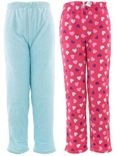 Heart Pants Fleece Pajama (Chili Peppers Big Girls' Coral Blue Hearts 2-Pack Pajama Pants M/7-8)