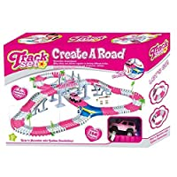 Dotopon Tracks Flexible Car Circuit 168 Pieces Modular, Magic and Games Circuit Car Toy with trees Ultra Fun Accessories(pink)