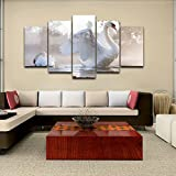 [LARGE] Premium Quality Canvas Printed Wall Art Poster 5 Pieces / 5 Pannel Wall Decor White Animal Painting, Home Decor Pictures - With Wooden Frame