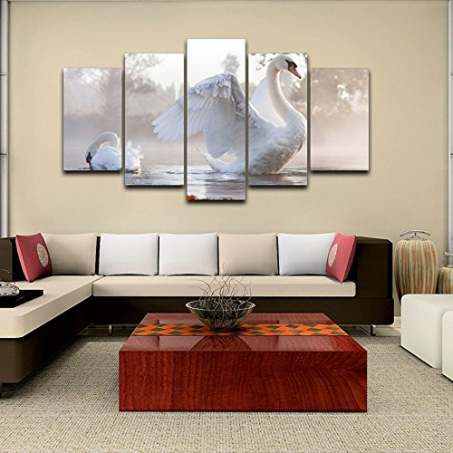 [LARGE] Premium Quality Canvas Printed Wall Art Poster 5 Pieces / 5 Pannel Wall Decor White Animal Painting, Home Decor Pictures - With Wooden Frame by PEACOCK JEWELS