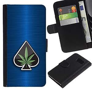 Paccase / Billetera de Cuero Caso del tirón Titular de la tarjeta Carcasa Funda para - Marijuana Space Weed 420 Bud - Samsung Galaxy S6 SM-G920